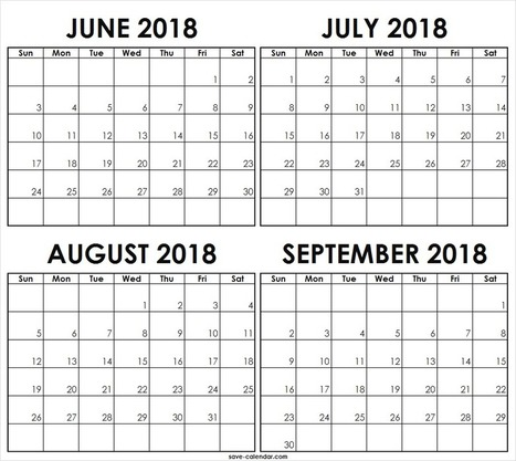 Blank June July August September 2018 Calendar