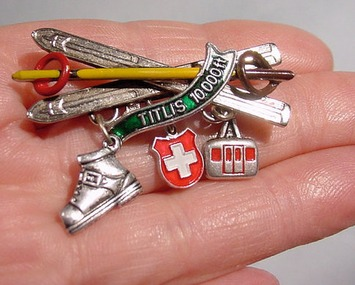 Ski Pin with Charms -Mount Titlis, Snow Skying Central Switzerland's loftiest peak | Antiques & Vintage Collectibles | Scoop.it