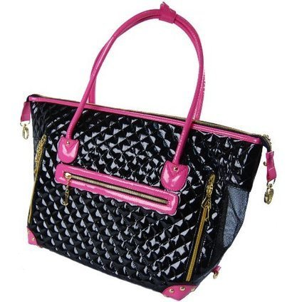 fc34cbe501a7 Black and Pink Quilted Faux Patent Leather Tote Purse Dog and Pet Carrier   FOR SMALL DOGS