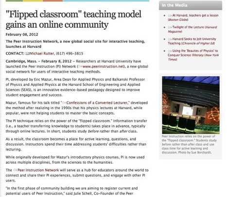 """""""Flipped classroom"""" teaching model gains an online community — Harvard School of Engineering and Applied Sciences   Zukunft des Lernens   Scoop.it"""