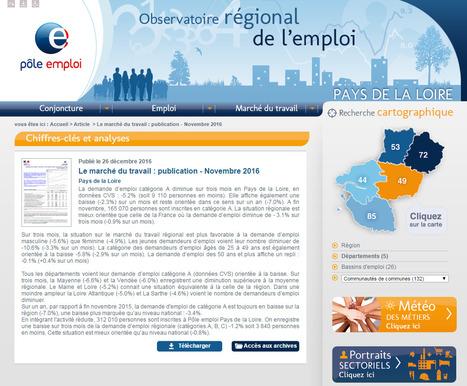 Observatoire régional de l'emploi > Novembre 2016 : la demande d'emploi de catégorie A diminue sur trois mois en Pays de la Loire : -5,2%   Observer les Pays de la Loire   Scoop.it