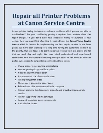 Canon Printer Repair Service Centre Canada   Scoop it
