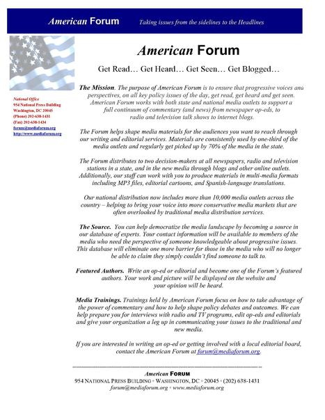 "American Forum: ""Get Read… Get Heard… Get Seen… Get Blogged…"" 