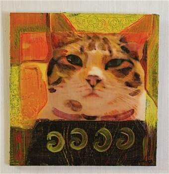 """Canemah Studios Mixed Media Painting """"I Am The Cat"""" 