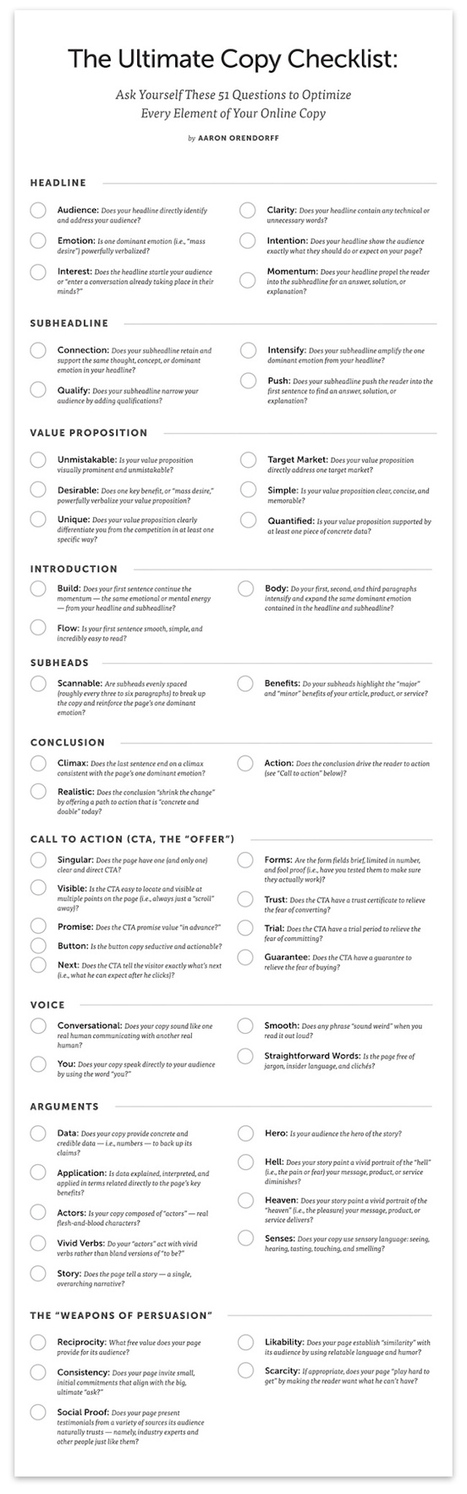 The Ultimate Copy Checklist: 51 Questions to Optimize Every Element of Your Online Copy [Free Poster] - Copyblogger | Writing 100 Inspirations | Scoop.it
