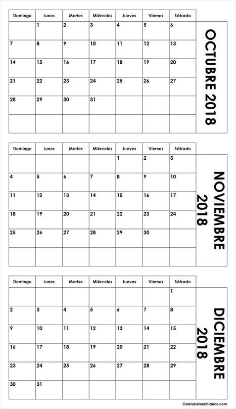 7377fbbff7 Calendario Octubre Noviembre Diciembre 2018