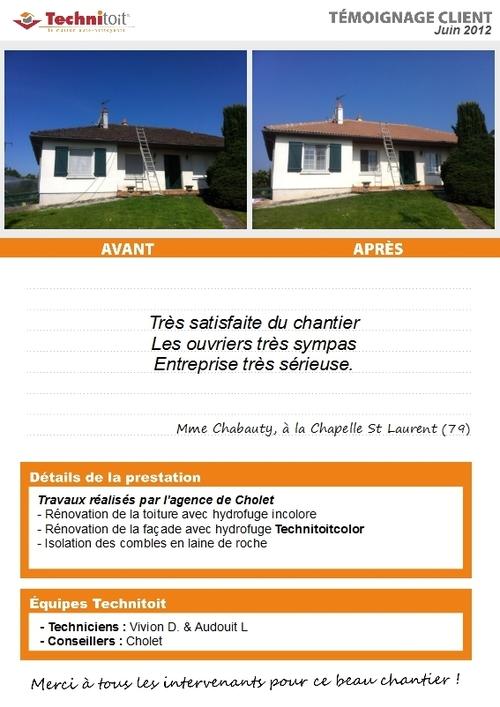 [témoignage] Travaux de rénovation toiture et façade, isolation des combles, la Chapelle St Laurent (79)