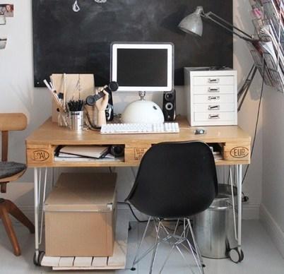 faire un bureau en bois de palette des mod egr. Black Bedroom Furniture Sets. Home Design Ideas