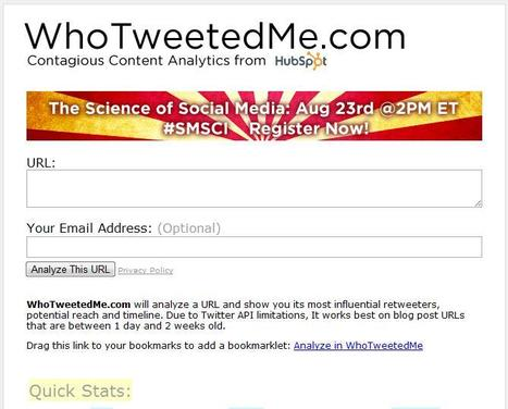 WhoTweetedMe | Online Tools | Scoop.it