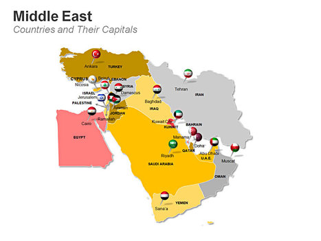 Middle Eastern Countries Map with their Capital