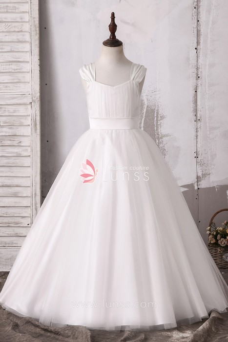 bd2c2636dc3 Cute Ivory Ballgown Tulle Satin Flower Girl Dress - Lunss Couture