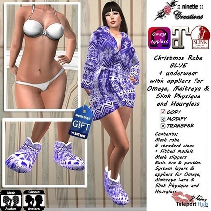 Nordic Robe with Slippers Blue & White Undies Group Gift by ninette creations | Teleport Hub - Second Life Freebies | Second Life Freebies | Scoop.it