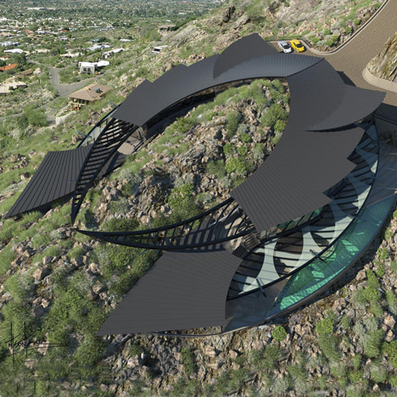 Manta ray-shaped house set to straddle an Arizona mountain   ARCHIresource   Scoop.it