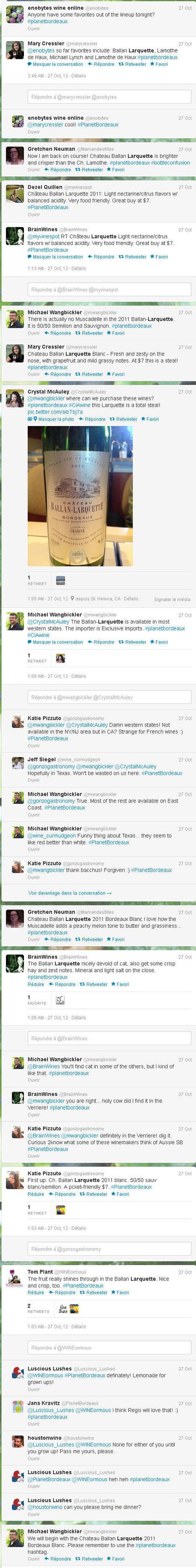 Ch Ballan-Larquette Bordeaux blanc 2011Twitter live tasting - USA - 2012, October 26 | Nombrilisme | Scoop.it