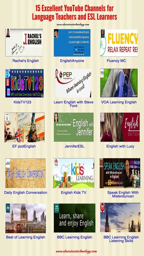 15 Excellent YouTube Channels for Language Teachers and ESL Learners via @medkh9 | ICT for Education and Development | Scoop.it