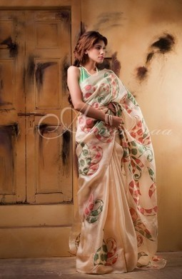 Buy Embroidery Cutwork Silk Sarees Aavaranaa