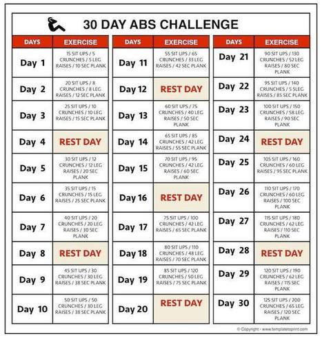 It is a picture of Printable 30 Day Ab Challenge within calendar