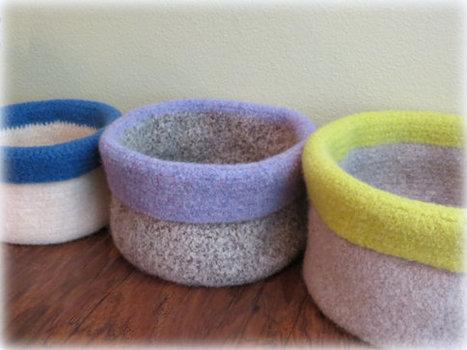 Crochet Basket Pattern - Easy Crochet Storage Basket Pattern - CROCHET PATTERN - Crochet Felted Basket - Crochet Patterns by Deborah O'Leary | Fiber Arts | Scoop.it