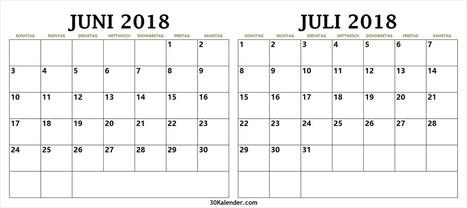 Druckbarer Kalender 2018 Juni Juli In 2018 Calendar Scoop It