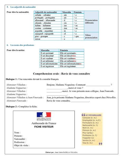 FLE - Leçon 1 - Se présenter - Page 4 | Le Top du FLE | Scoop.it
