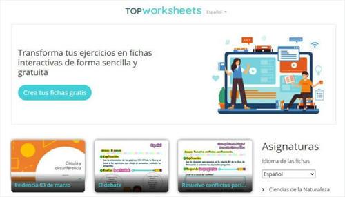 Top Worksheets, herramienta educativa gratuita para crear fichas interactivas autocorregibles