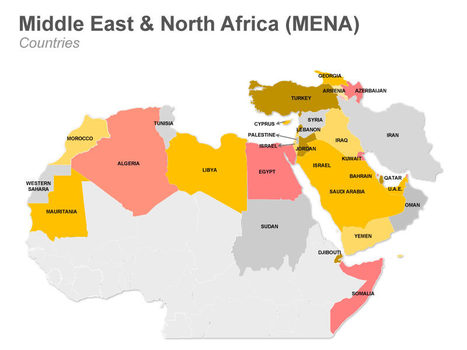 middle east and north africa ppt map in map scoop it