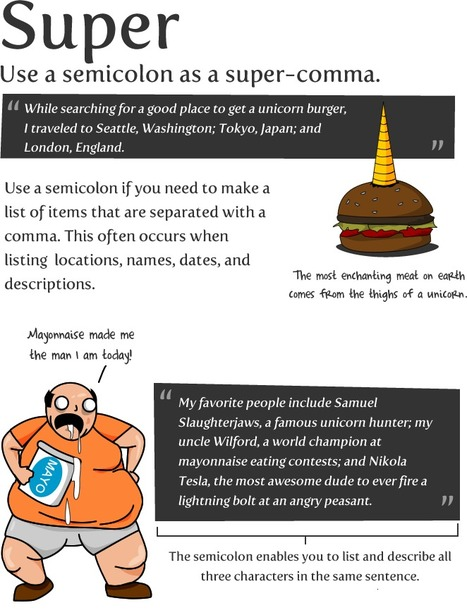 How to use a semicolon - The Oatmeal | Jenny's Mashup of Anything Library | Scoop.it