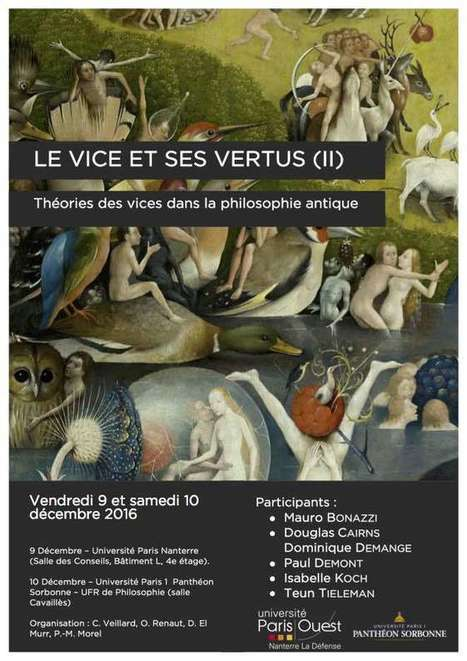 Colloque. Le vice et ses vertus II. Théories des vices dans la philosophie antique | Philosophie en France | Scoop.it