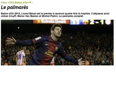 """Lionel Messi, Ballon d'Or 2012""   Jù'scoop iT   Scoop.it"