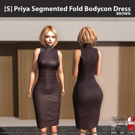 64847a0d6febf0 New Release   S  Priya Segmented Fold Bodycon Dress by  satus Inc