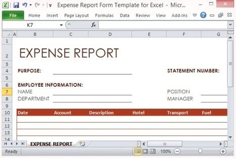 Expense Report Form Template For Excel Micros