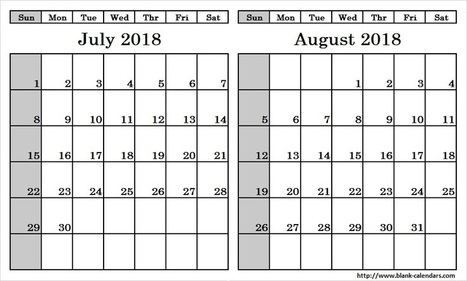 Print July August Calendar 2018 With Notes