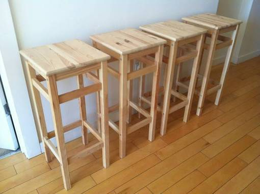 4 Ikea Oddvar Bar Stools Pine Bar Stools