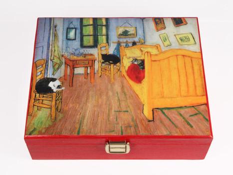 Van Gogh's Bedroom (with Cats) Wooden Keepsake Boxes | Cat Art | Scoop.it