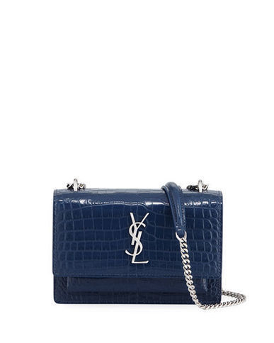 10a2ad89592218 Saint Laurent Sunset Monogram Small Crocodile Embossed Wallet on Chain