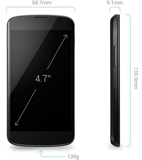 Nexus 4 Tech Specs - Google | Phone models and SIM Types | Scoop.it