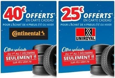 Super Bon Plan carte cadeau Illicado 25 et 40 euros sur l achat de 4 pneus  Continental, Uniroyal,Feu Vert 7e7fba67fed