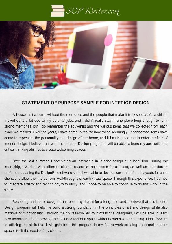 interior design personal statement for university admission