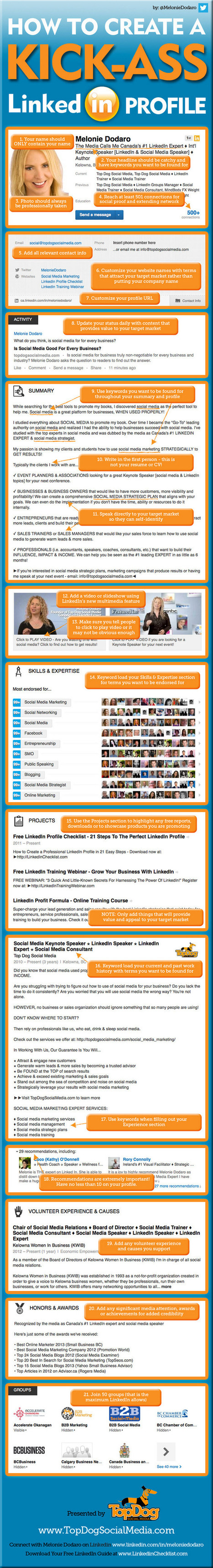 21 Steps to Create an Awesome LinkedIn Profile - Jeffbullas's Blog | creating infographics for promotion | Scoop.it