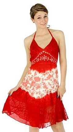 0dcefb238edf Dizanne Tunic Print Dress - Hand Dye Embroidery Dress Red Large D029    Summer Dresses