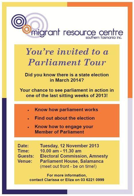 Tasmanian Parliament Tour – 12th November Parliament House | CFNP South | Scoop.it