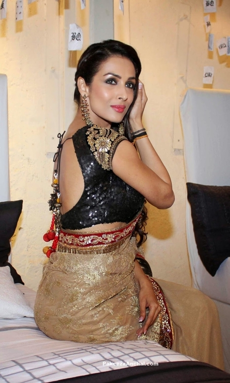 a08fd565d3186 Malaika Arora in Vikram Phadnis Gold Embroider Saree and Black Sequined  Blouse