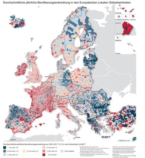 This Incredibly Detailed Map Shows How Europe's Population Changed From 2001 to 2011 | JWK Geography | Scoop.it