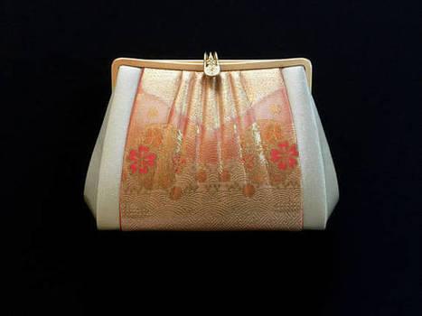 c1e20b80489 Vintage Japanese Kimono Clutch - Vintage Clutch - Bridal Clutch - Peach  Orange Clutch - Japanese Bag - Bridal Purse - Japanese Clutch