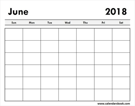 Print Blank June 2018 Calendar Template