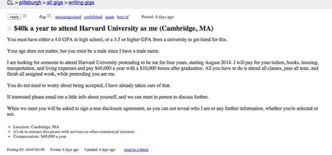 Job Listing: '$40K a Year to Attend Harvard University as Me' | :: The 4th Era :: | Scoop.it