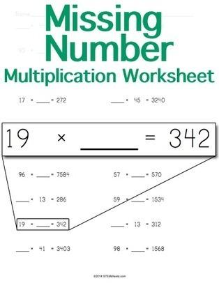 Multiplication Worksheet Maker Missing Number