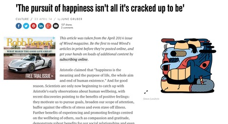 'The pursuit of happiness isn't all it's cracked up to be' (Wired UK) | Google Lit Trips: Reading About Reading | Scoop.it