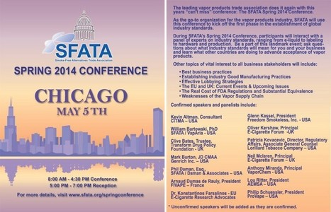 SFATA Announces Spring E-Cig Conference on May 5th in Chicago | Ecig Advanced News | VapeHalla! | Scoop.it