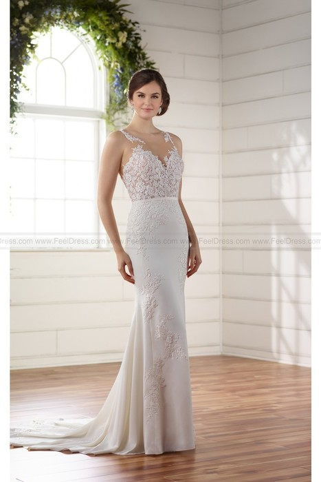 73c2c1ce134b Essense of Australia Sophisticated Column Wedding Dress With Illusion  Bodice And Lace Applique Style D2215